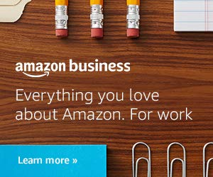 Amazon Business - Everything you love about Amazon. For work. Image is an affiliate link to Amazon Business